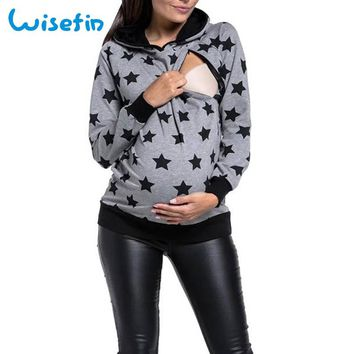Wisefin Maternity Hoodies Nursing Top Winter Pregnancy Clothes Long Sleeve Breastfeeding Clothes Star Sweatshirt Nursing Clothes