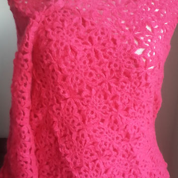 Wedding crochet shawl ,pink bridal stole, bridal wraps , fuchsia shawl, pink shawl, bridesmaid shawl, pink wraps, wedding wrap, Frida shawls