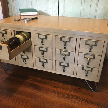 Vintage Card Catalog Coffee Table Wine Cabinet Storage 15 Drawers Hairpin Legs File End Hallway Entry Wood Wooden Maple