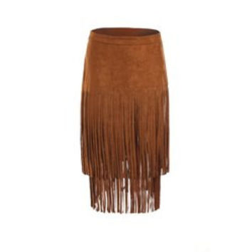 Stylish Multi-Layered Fringe Solid Color Suede Skirt For Women