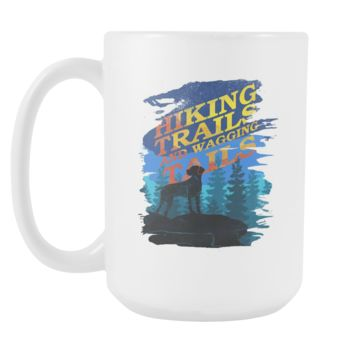 Hiking Trails and Wagging Tails Camping Dogs White 15oz Mug