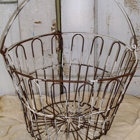 Rusty old antique egg basket distressed farmhouse kitchen decor Anita Spero