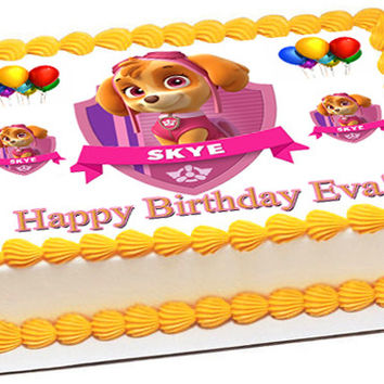 PAW PATROL SKYE 1 Edible Birthday Cake Topper OR Cupcake Topper, Decor