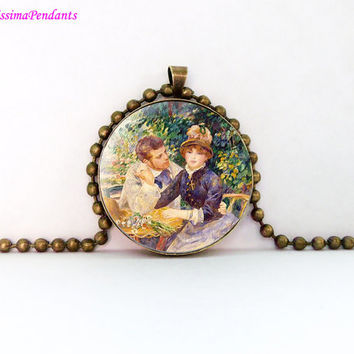 In the Garden, Pierre-Auguste Renoir, 1 in. 25.4 mm necklace, pendant, glass jewelry, art, impressionism, impressionist,  no 133