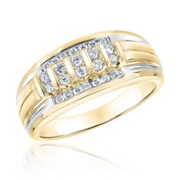 Men's Round Diamond Yellow Gold Ring 1/2ctw