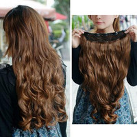 """Light Brown Clip-on Hair Extension 21.7"""""""
