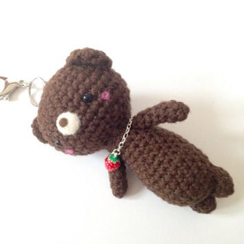 Bag Charm Crochet Brown Teddy Bear Key Chain Amigurumi Bear Kawaii Accessories Girls Stuff Gift Ideas