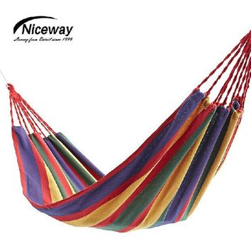 Outdoor Furniture Portable Canvas String Hammock For  Travel Camping Tourism Hunting Rest Sleep Good