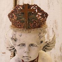 Cherub statue with handmade crown adorned jewelry French shabby inspired ooak home decor Anita Spero