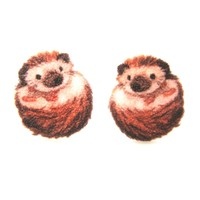 Baby Hedgehog Porcupine Illustrated Animal Stud Earrings | Handmade Shrink Plastic