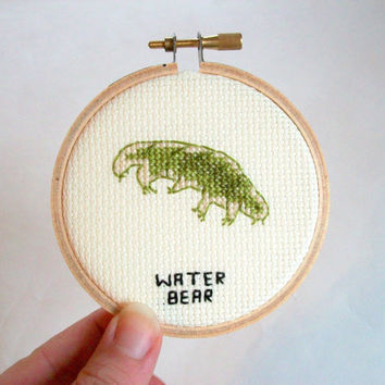 Water bear, Tardigrade cross stitch microbe -- awesome indestructible animal that can survive in space, medical or science stitchery