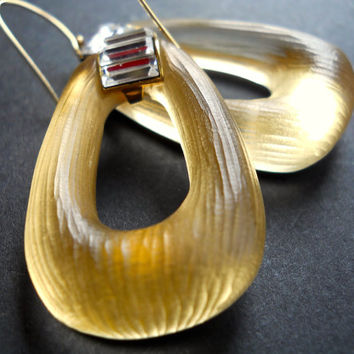 Glowing Golden Lucite Earrings, ALEXIS BITTAR, Swarovski Crystal, Gold Filled, Vintage