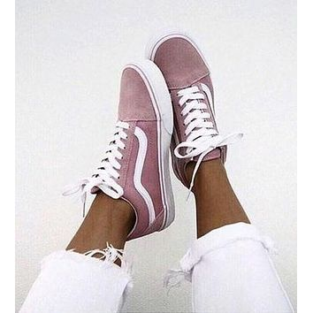 Vans Old Skool Classic Popular Women Casual Pink Flats Sneakers Sport Shoes I