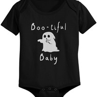 Boo-tiful Baby with Cute little Ghost Bodysuits Halloween Black Snap On Onesuits