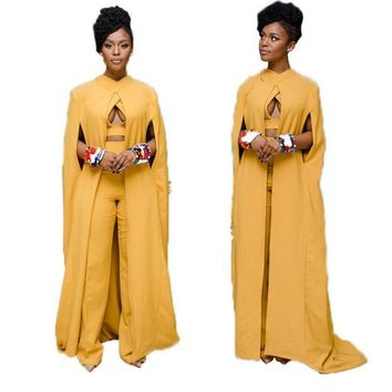 PEAPUNT 3 piece set 2016 autumn Women Maxi Dress yellow Dashiki Cape Vintage solid Dashiki Dress slim turtleneck women Sundress Vestidos