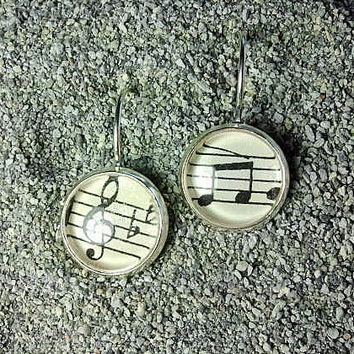 Silver-finish Lever-back Earrings with Sheet Music Under Glass - WITH GIFT CARD