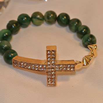 Don't be Jaded  Green African Jade Bracelet by GGSparkle on Etsy