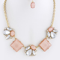 Square Crystal Necklace & Earring Set - Peach