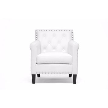 Thalassa White Modern Arm Chair By Baxton Studio