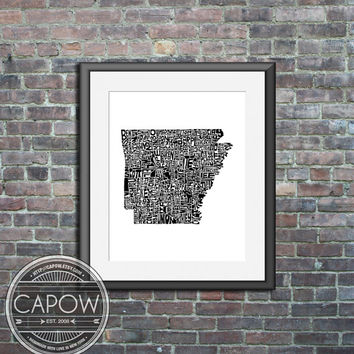 Arkansas - typography map art print 8x10 - customizable state poster custom wedding engagement graduation gift anniversary wall art decor