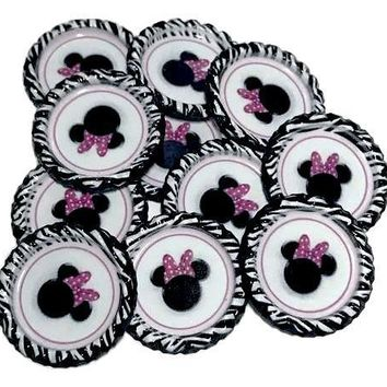 Zebra Minnie mouse head print flattened bottle caps