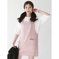 Dusty Pink Dungaree Dress