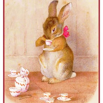 Peter Rabbit Having Tea inspired by Beatrix Potter Counted Cross Stitch Pattern