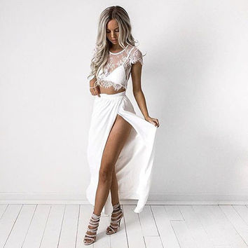 2 piece set women hollow out lace white dress crop top side split pink party vestidos solid Short O neck Sleeve long dresses