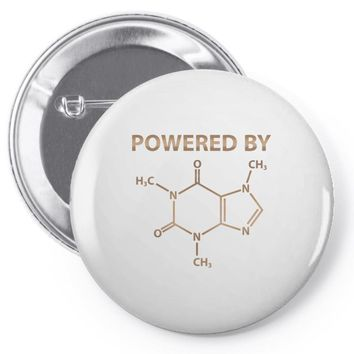 Powered By Caffeine Molecule Pin-back button