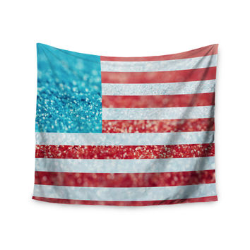 "Beth Engel ""Red White and Glitter"" Flag Wall Tapestry"