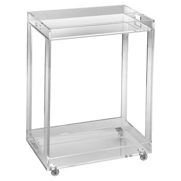 Acrylic Bar Cart, Clear, Acrylic / Lucite, Bar Carts
