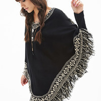 FOREVER 21 Fringed Sweater Poncho Black/Cream