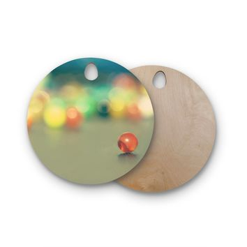 "Sylvia Coomes ""Marble Bokeh"" Multicolor Abstract Round Wooden Cutting Board"