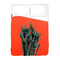 Cactus on Red Duvet Cover
