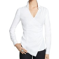 White House | Black Market Poplin Faux Wrap Shirt