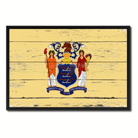 New Jersey State Flag Vintage Canvas Print with Black Picture Frame Home DecorWall Art Collectible Decoration Artwork Gifts