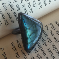 Triangle Labradorite Ring size 6.5