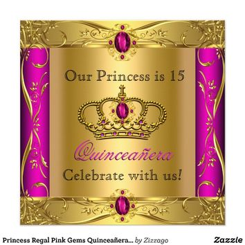 Princess Regal Pink Gems Quinceañera Party Custom Invites from Zazzle.com
