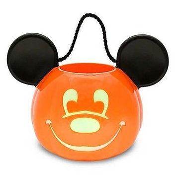 disney parks halloween mickey mouse pumpkin trick or treat light up bucket new