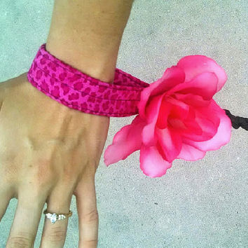 Flower Snap Accessory & Leather -Ultimate Girly Leash For Big Dogs-