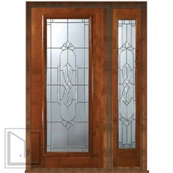 Prehung Side light Door 80 Wood Alder Kensington Full Lite Glass