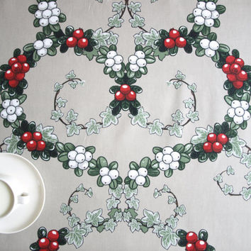 Christmas Tablecloth grey white red berries heart garland , also curtains available, great GIFT