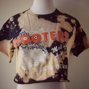 distressed hooters t shirt | vintage diy worn in tee | bleached cropped t-shirt | cut off | hipster boho | owl shirt | crop summer top | s/m