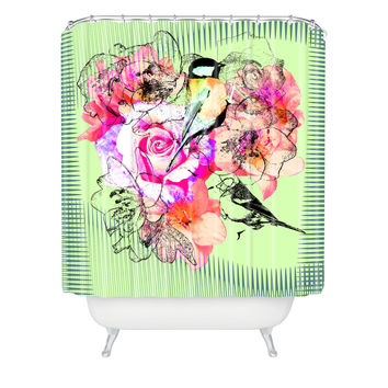 Bel Lefosse Design Birds And Flowers Shower Curtain