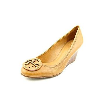 Tory Burch Sally Womens Size 9.5 Tan Leather Wedges Heels Shoes