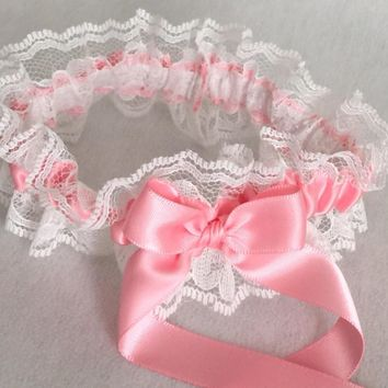 Pink and White Lace Wedding Garter, Prom Garter, Bridal Garter, Weddings, Bridesmaid Gift, Homecoming Garter, Bridal Gift