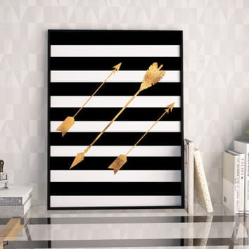 ARROW MODERN DECOR,Black And Gold Gold Foil,Nursery Decor,Be Bold Print,Arrow Decor,Gold Arrow,Digital Print,Kids Room Decor,Printable Art