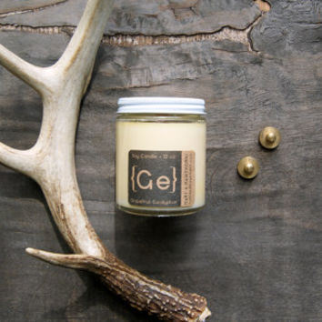 Grapefruit Eucalyptus Soy Candle {Ge} in Glass Jar 5oz. with Cotton Wick or Wood Wick