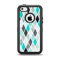 The Graytone Diamond Pattern with Teal Highlights Apple iPhone 5c Otterbox Defender Case Skin Set