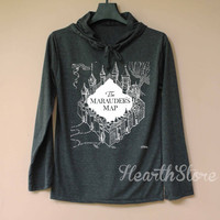The Marauder's Map Shirt Harry Potter Shirt Long Sleeve Hoodie TShirt T Shirt Unisex - size S M L